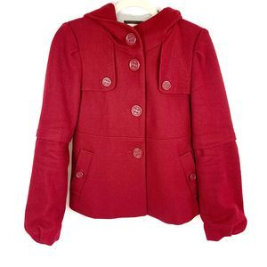 Anthro Elevenses Wool Red Hooded Jacket